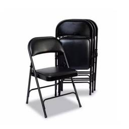 Kit C/ 4 Cadeiras Dobrável Almofadada Preta Maxchief