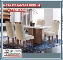 Título do anúncio: Mesa de Jantar Berlim 4 cadeiras com tampo de vidro em Mega Promoção !