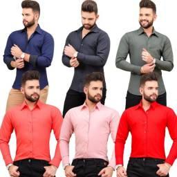 Kit 10 camisa Social Slim Fit 100% algodão