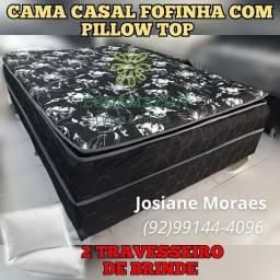 Título do anúncio: CAMA CASAL FOFINHA DE ESPUMA GANHE 2 TRAVESSEIRO