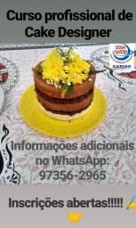 Curso de Cake Designer para Iniciantes-Massa, recheio e Confeitagem-100% prático