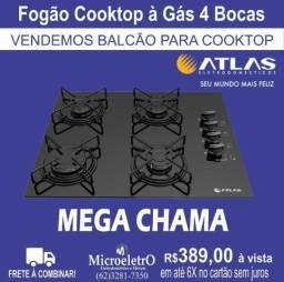 Fogão Cooktop à Gás 4 Bocas Atlas Agile Preto Mega Chamas