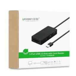 Hub Usb 2.0 3 Portas + Leitor de Cartão Ugreen 30409