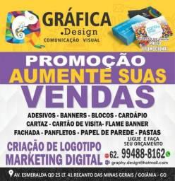 Banner, Gráfica, Cartão de Visita, Panfleto, wind banner, Bandeiras, Fachada, Logomarca,
