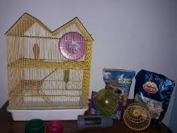 Gaiola para hamster e acessórios