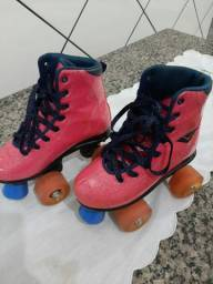 Patins Bouts Skid Pink Verniz com Led