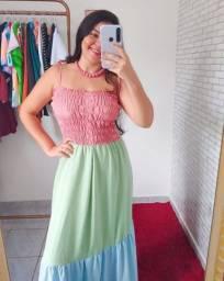 Vestido Tricolor Longo