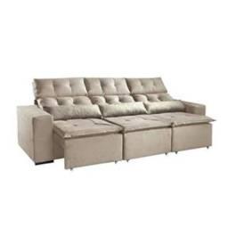 Sofá Retrátil e Reclinável Mtal Pillow, 2,65 m, aberto 1,31 m. Temos toda linha de móveis.