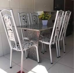 Título do anúncio: Mesa de 6 cadeiras com pé em granito