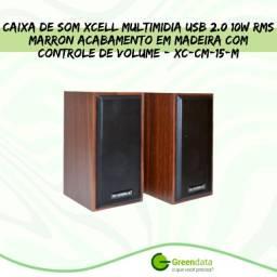 Título do anúncio: Caixa de Som Xcell Multimidia usb 2.0 10W Rms Marron