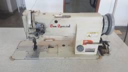 Máquina costura industrial 2 agulhas transporte triplo