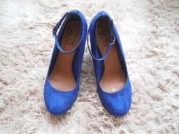 Sapato Anabela Azul Royal
