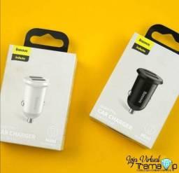 Título do anúncio: Carregador Veicular Baseus Mini Dual Usb 2.4a Suporte Iphone12 / Xiaomi / Samsung / Huawei