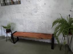 Banco ferro e madeira