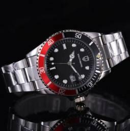 Relógio Southberg Prata Preto com Vermelho com Data Resistente à Água 100% Novo e Original