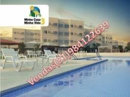 Entrada facilitada com 3 qts,varanda,57M²,suite,lazer completo,próximo do centro- *