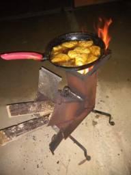 Fogareiro a lenha rocket stove