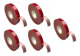 5 Unidades Fita Dupla Face 3M Vermelha 5 mts x 11 mm Largura