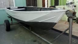 Barco Lancha Aluminio 4mt Completa Motor 15 aceito troca Moto / Carro