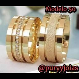 Título do anúncio: Aliança Ouro 18 Luxuosas