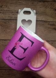 Título do anúncio: Caneca glitter personalizada rosa (caneca de cerâmica )