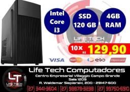 Computador Intel® Core i3 | Memória 4GB| SSD 120GB | NOVO| Garantia 01 ano