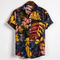 Camisa de Botão Masculina Shein - Floral Mostarda - Tamanho G