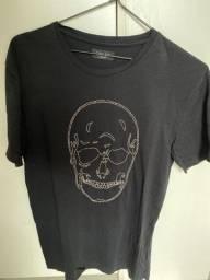 Camiseta preta caveira zara man