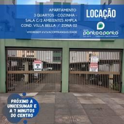 LOCAÇÃO   Apartamento, com 3 quartos em Vila Bosque, Maringá