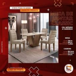 Título do anúncio: Mesa de Jantar Classic Cel Móveis 04 Cadeiras - Entrega Imediata!