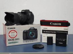 Título do anúncio: Câmera Canon EOS 80D + Lente Sigma Art 18-35mm f/1.8