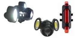 Farol Lanterna Bike 3funções Zoom Recarregável + Led Verm<br><br>