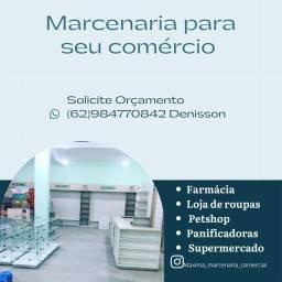 Farmácia - marcenaria - prateleiras vidro e MDF - pet shop