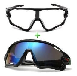 Título do anúncio: Óculos De Sol Ciclismo Espelhado + Noturno Kit 2 Unidades