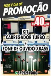 Kit Carregador e Fone