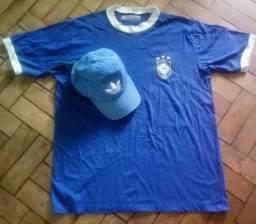 Camisa do Brasil seleção, marca Athleta, grátis boné Adidas