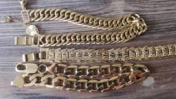 Bracelete Pulseira Banhada a Ouro 24k e 18k
