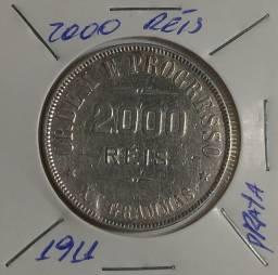 Moeda de 2000 Réis de 1911 de Prata XX Gramas