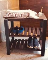 Sapateira mesa de canto de madeira rústica