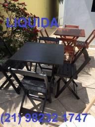 Conjunto dobrável com 1 mesa 70x70 com 02 ou 04 cadeiras - com ou sem pintura