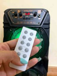 Caixa de som super potente c/ microfone e controle