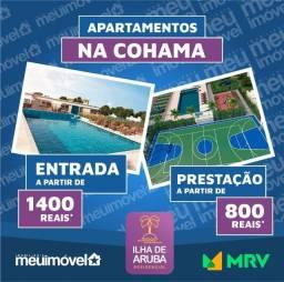 [104] Ilha de Aruba, apartamentos no melhor da Cohama - 2 quartos