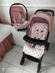 Vendo bebê conforto com base, carrinho  e alcochoado de coroa