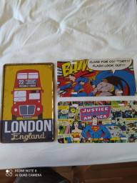 PLACAS DECORATIVAS BATMAN E SUPERMAN RETRÔ