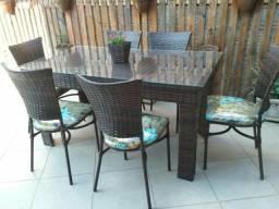 Mesa 1.65x0.95 de junco com 6 cadeiras ( produto novo)
