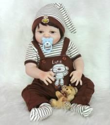 Boneco Bebê Reborn Menino Silicone 57 Cm