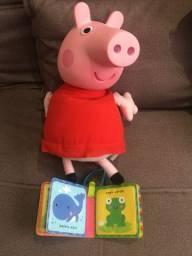 Boneca de Pelúcia Peppa Pig Cabeça de Vinil 34 Cm - Estrela