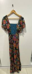Lindo vestido florido em linho P ( 38 )
