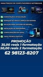 Título do anúncio: Formatação Notebooks e PCs R$ 35,00