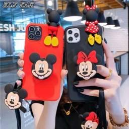 Título do anúncio: Capa Flexível Desenho Minnie Mickey Com Suporte E Cordão Para Xiaomi Redmi